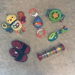 VTech, Little Tikes Toys - Bundle of Baby Toys & Sandal Shoes, 6 articles
